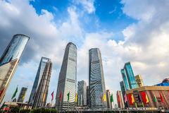 Shanghai downtown against a blue sky Royalty Free Stock Photography
