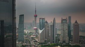 Shanghai downtown buildings roof top panorama 4k time lapse china. China shanghai cityscape downtown famous buildings roof top panorama 4k time lapse stock footage