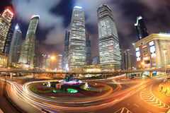 Shanghai downtown at night Royalty Free Stock Photo