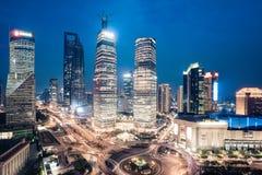 Shanghai downtown night scene Stock Photo