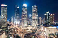 Shanghai downtown night view Stock Photography