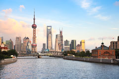 Shanghai at dusk Royalty Free Stock Images