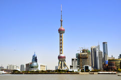 Shanghai East Pearl TV tower and buildings Stock Photography