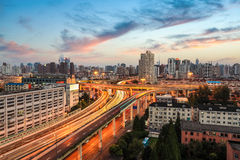 Shanghai elevated road at dusk. Modern city traffic view Stock Photo