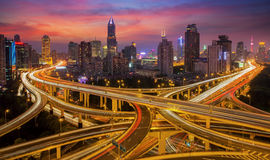 Shanghai elevated road junction. And interchange overpass at night Royalty Free Stock Photography