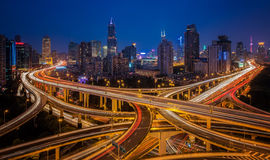 Shanghai elevated road junction. And interchange overpass at night Stock Images