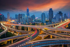 Shanghai elevated road junction. And interchange overpass at night Stock Photo