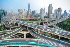 Shanghai elevated road junction and interchange overpass Royalty Free Stock Images