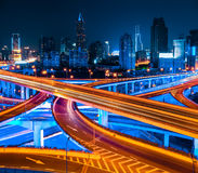 Shanghai elevated road at night Stock Photos