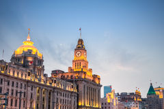 Shanghai excellent historic buildings at dusk Royalty Free Stock Image