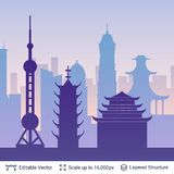 Shanghai famous city scape. Royalty Free Stock Photo