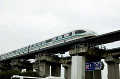 Shanghai fast airport train. Fast magnetic levitation train going to Shanghai Pudong International Airport. Driving with speed over 400 km/h Stock Images