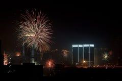 Shanghai-Feuerwerke Stockfotografie