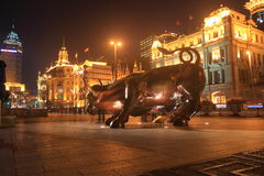 Shanghai  finance  bull at night Royalty Free Stock Photography