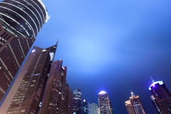 Shanghai financial center district at night Stock Photography