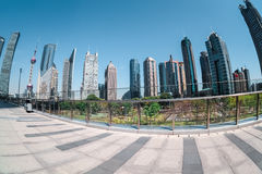 Shanghai financial center by fisheye view Royalty Free Stock Photo