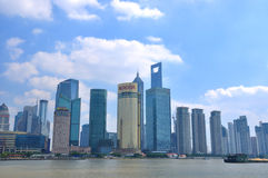 Shanghai financial center and Huangpu river Stock Photos