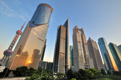 Shanghai financial center in Lujiazui area Royalty Free Stock Images