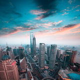Shanghai financial center in sunset Royalty Free Stock Images