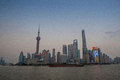 Shanghai Financial District at night Royalty Free Stock Photo