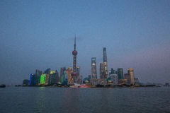 Shanghai Financial District at night Royalty Free Stock Image