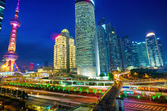 Shanghai financial district at night Royalty Free Stock Photography