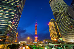Shanghai financial district at night Stock Photo