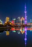 Shanghai financial district at night with waibaidu bridge Royalty Free Stock Photo