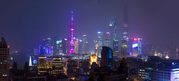 Shanghai financial district skyscrapers at night Royalty Free Stock Images
