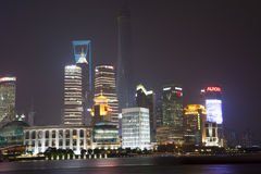 Shanghai-Finanzzentrum nachts Stockbild