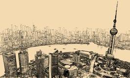 Shanghai - flyg- sikt ovanför floden vektor illustrationer