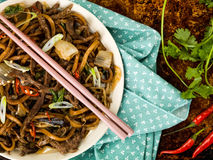 Shanghai Fried Beef and Udon Noodles Royalty Free Stock Image