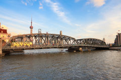 Shanghai garden bridge in dusk Royalty Free Stock Photography