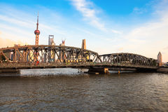 Shanghai garden bridge at dusk Stock Photo