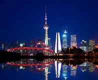 Shanghai garden bridge of landmark skyline at night Stock Photos