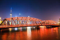Shanghai garden bridge at night Royalty Free Stock Photos