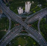 Shanghai gator och genomskärningar royaltyfri foto