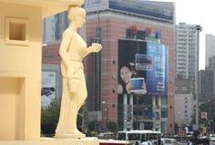 Shanghai, Grote Gateway 66 hield het thematentoonstelling van Heilige Seiya OL Royalty-vrije Stock Foto