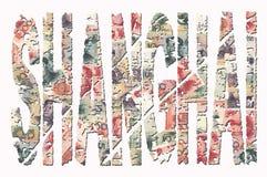 Shanghai grunge text with Renminbi Stock Image