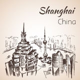 Shanghai hand drawn landscape. Royalty Free Stock Photo