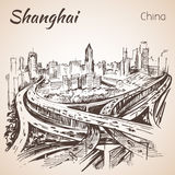 Shanghai hand drawn landscape. Royalty Free Stock Image