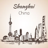 Shanghai hand drawn landscape. Stock Photo