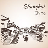 Shanghai hand drawn landscape. On white background stock illustration