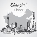 Shanghai hand drawn landscape Stock Photography