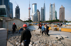 Shanghai in heavy construction Royalty Free Stock Photo