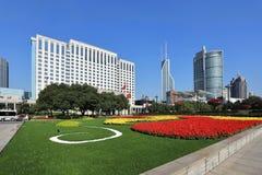 Shanghai het vierkante landschap van de mensen stock afbeelding