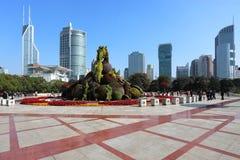 Shanghai het vierkante landschap van de mensen royalty-vrije stock afbeeldingen