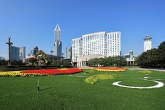 Shanghai het vierkante landschap van de mensen stock foto