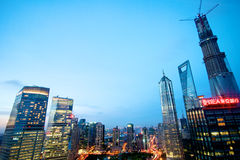 Shanghai highrise night view Royalty Free Stock Photography