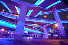 Shanghai, highway overpasses night Stock Image